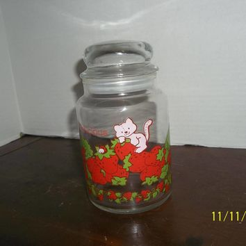 vintage strawberry shortcake glass canister delicious custard cat