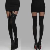 Black Sheer Mesh Paneled Garter Tights