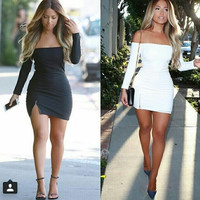 Sexy Solid Off Shoulder Bodycon Short Dress with Zipper +Free Gift Necklace