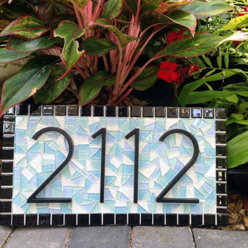 Mosaic Address Sign Beach House Outdoor Plaque