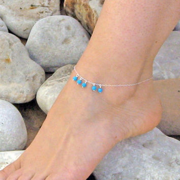 Turquoise Anklet, Dangle Ankle Bracelet, 925 Sterling Silver, Dangle Stone Anklet, Beach Foot Jewelry, Bridesmaid Jewelry, Gift Under 25