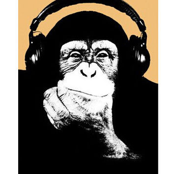 Headphone Chimp Poster 20x30