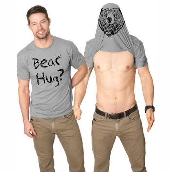 Flip up t shirts Men Bear Hug Short Sleeve O neck Tops Tee Homme Sportswear T-shirt bear hug qo435