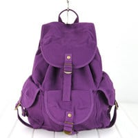 New Woman's Purple Canvas Backpacks Strap Closures School Bags Satchels FB246-4