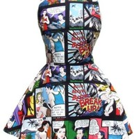 Comic Strip Skater Dress Black
