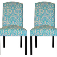 Aqua Abigail Side Chairs, Pair, Dining Chair Sets