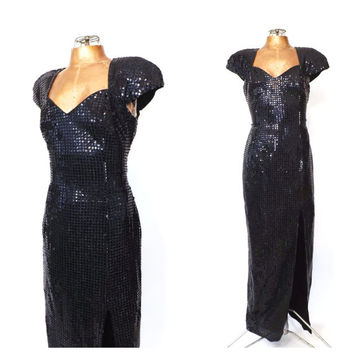 Vintage 80s does 1940s 1950s Black Sequin Dress Old Hollywood Femme Fatale Noir Long Bombshell Gown Wiggle Dress Vamp Elvira Morticia Dress