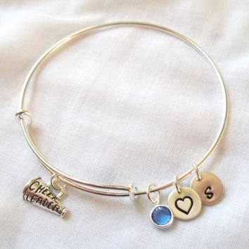 Alex and Ani Style Cheerleader Bracelet -- Sterling Silver, Alex and Ani Style, Birthstone, Initial, I Love Cheerleading -- MADE TO ORDER
