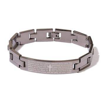 ION Plated Black and Stainless Steel Lord's Prayer Bracelet (8.50 in)