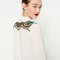 BLOUSE WITH SEQUINNED YOKE - Embroidered-TOPS-WOMAN | ZARA United States