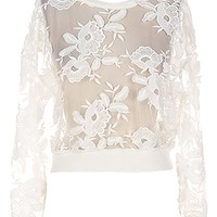 Ivory Garden Sweater   White Mesh Lace Floral Applique Tops   RicketyRack.com