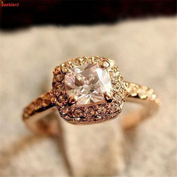 The most 1PC Princess Square Ring Luxury Elegance Fashion Wedding Ring