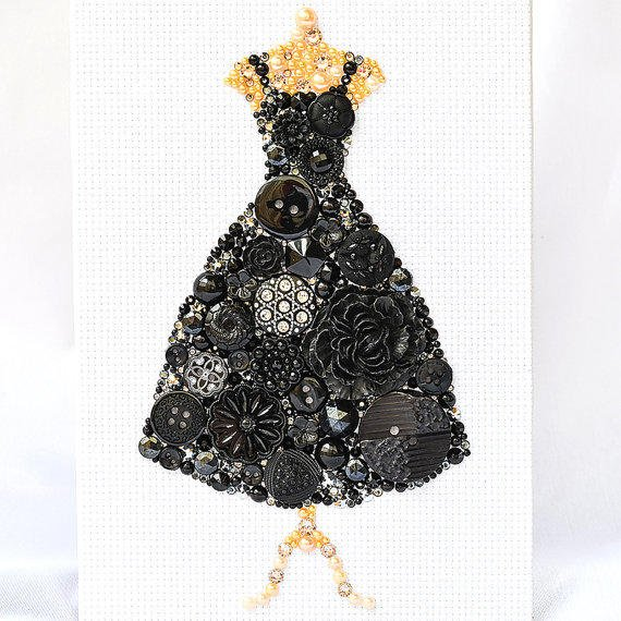 Button Art Black Dress Vintage Button From Painted With
