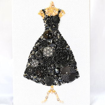 Button Art - Black Dress - Vintage Button Art, Wall Hanging, Wall Art, Home Decor, Button Mosaic
