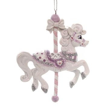 Holiday Ornaments SUGAR PLUM CAROUSEL HORSE Polyresin Unicorn C7905 Purple