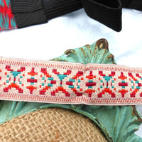 Stitched southwestern fabric Headband head jewelry. Turquoise, red, orange and coral pink.
