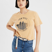 AE Washed NYC Graphic Tee, Mustard