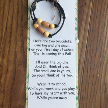 Back to school bracelet set, boys bracelets, first day of school gift, mother and son gift, first day of school card