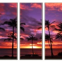 Sunset beach print on canvas, beach canvas prints, prints for modern home and office interior décor, seascape canvas designs, 5 panel print, sunset wall art, framed and ready to hang
