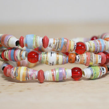Rainbow Colored Recycled Paper Bead Bracelet Made With Damaged Children's Book