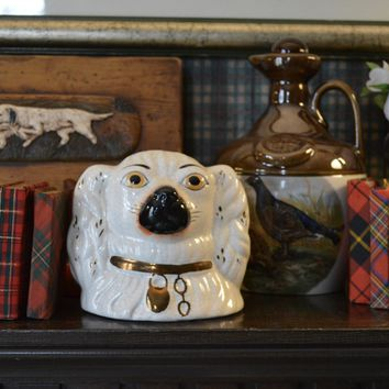 Vintage Staffordshire White Spaniel Dog Head Money Bank - English Country Decor