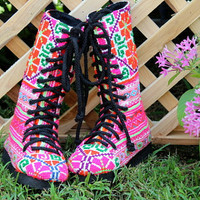 Bright Pink Toddler / Little Girls Boots In Hmong Embroidery Combat Style