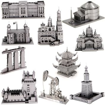 3D Metal Puzzles for children Adult Model kid Toys for Adult Jigsaw UFO Sands Hotel Pantheon Maya Pyramid Christmas gift spinner