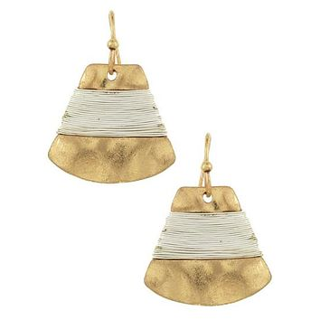 Hammer Gold Wire Wrapped Earrings