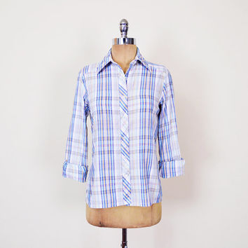 Blue Plaid Shirt 70s Plaid Western Shirt 80s Plaid Button Up Shirt Plaid Boyfriend Shirt Skinny Fit Shirt Paper Thin Shirt Women S Small