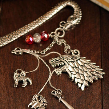 Game of Thrones Bookmark Direwolf on Detailed Dragon with Tibetan Silver Dragon, Wolf, Sword Charms and Fire and Ice Swarovski Crystal Beads