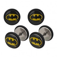 316L Stainless Steel Batman Logo Fake Plugs with Rubber Bands - 18G (1mm) - Sold as a Pair