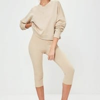 Missguided - Nude Studded Front Detail Sweatshirt