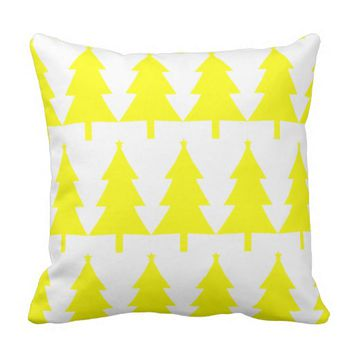 Merry Christmas Yellow Tree Throw Pillow