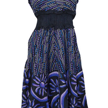 Bohemian Dress V-neck Floral Printed Cotton Blue Peasant Dresses Be the first to review this item
