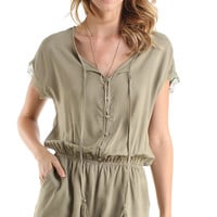 OLIVE BUTTON DOWN LACE TRIM ROMPER