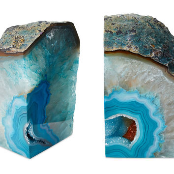 Large Geode Bookends, Blue, Set of 2, Bookends