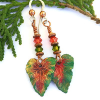 Green Coral Brass Tropical Leaf Earrings, Swarovski Artisan Painted Handmade Jewelry for Women