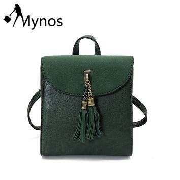 Mynos Suede Leather Women Tassel Backpacks Crossbody bag for Women School Bag forTeenager Rucksack Purse Women Shoulder Bag Sac