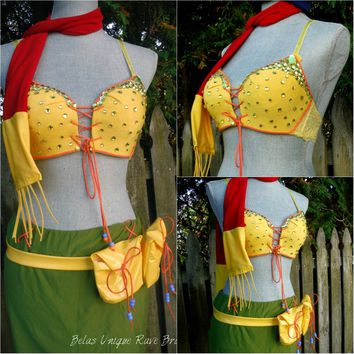 Final Fantasy Rikku Cosplay Dance Costume Rave Halloween