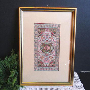 Vintage Framed Silk Brocade Tapestry, Floral / Geometric Design, Painted Gold Wood Frame