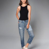 Womens Tonal Patch Boyfriend Jeans | Womens Bottoms | Abercrombie.com