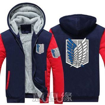 New Winter Jackets and Coats Attack on Titan hoodie Anime Luminous Hooded Thick Zipper Men Sweatshirts