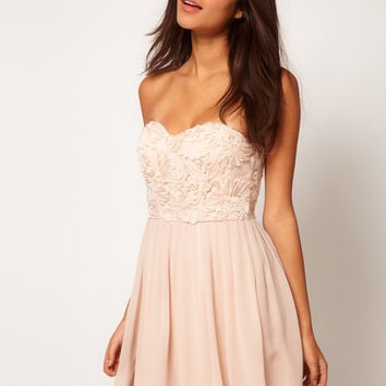 Elise Ryan Cornelli Trim Bandeau Skater Dress
