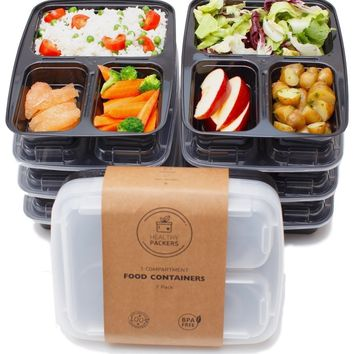 Healthy Packers 3 Compartment Reusable Food Prep Containers with Lids, Bento Lunch Box, Microwave and Dishwasher Safe - 7 Pack