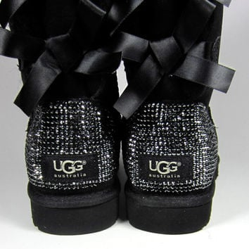 Toddler, Little Kid, and Youth UGG Black Bailey Bow Sheepskin Boots with Swarovski Crystal Embellishment - Winter/Holiday 2013