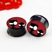 Pairs  Invader Zim   ear   plugs ,Tunnel  Gauge Body Jewelry  ,Black  Titanium ear plugs, screw on ear plugs,0g,00g ,2g  plugs gauges,
