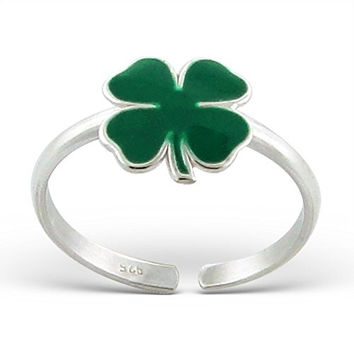 Green Clover Toe Ring Sterling Silver 925 US Size 3 (E13313)