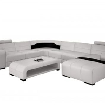 Large Elegant Modern Leather Sectional - Opulentitems.com