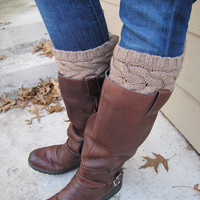 Boot Socks-Boot Cuffs-Full boot Sock sock Included- Topper- Brown Large Cable Knit -Full sock included