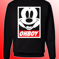 OHBOY MICKEY MOUSE CREW NECK SWEATER**BLACK SWEATSHIRT**MICKEY OBEY PARODY**